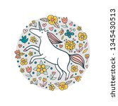 cute doodle unicorn in a flower ... | Shutterstock .eps vector #1345430513