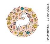 cute doodle unicorn in a flower ... | Shutterstock .eps vector #1345430516