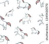 cute doodle pattern with little ... | Shutterstock .eps vector #1345430570