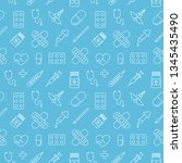 medicine vector seamless pattern | Shutterstock .eps vector #1345435490