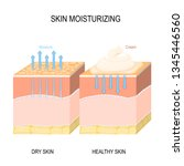 skin moisturizing. dry and... | Shutterstock .eps vector #1345446560
