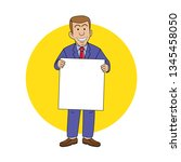 a bussinesman holding a blank...   Shutterstock .eps vector #1345458050