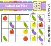 sudoku for kids. education... | Shutterstock .eps vector #1345479809