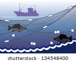 Silhouette of seiner, fishing nets, two fish on a background of the sea. - stock vector