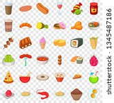 delicious dish icons set.... | Shutterstock .eps vector #1345487186