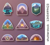 set of nine mountain travel... | Shutterstock .eps vector #1345499423
