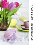 pink  violet and white tulips... | Shutterstock . vector #134551973