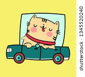 cute cat driver on car. funny...   Shutterstock .eps vector #1345520240