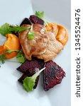 top view of grilled chicken... | Shutterstock . vector #1345524476