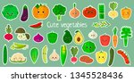 kawaii cute vegetables and... | Shutterstock .eps vector #1345528436