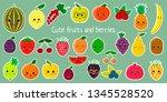 kawaii cute fruit and berries... | Shutterstock .eps vector #1345528520