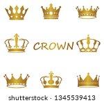gold crown logos set luxury...   Shutterstock .eps vector #1345539413
