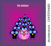 group of cartoon owls and one... | Shutterstock .eps vector #1345554680