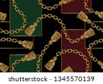 seamless golden chain pattern ... | Shutterstock .eps vector #1345570139