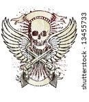 wings skull emblem | Shutterstock .eps vector #13455733