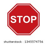 stop sign icon red on white...   Shutterstock .eps vector #1345574756