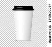 paper coffee cup with plastic... | Shutterstock .eps vector #1345607069