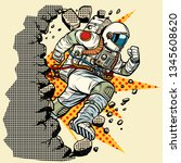 astronaut breaks the wall. pop... | Shutterstock .eps vector #1345608620