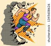 breaks the wall disabled runner ...   Shutterstock .eps vector #1345608626