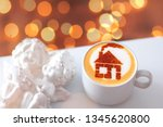 a cup of cappuccino coffee with ... | Shutterstock . vector #1345620800