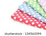 colorful fabric arrange on... | Shutterstock . vector #134563394