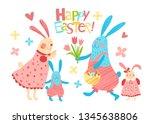 happy easter vector background. ... | Shutterstock .eps vector #1345638806