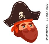 the head of a pirate in a hat.... | Shutterstock .eps vector #1345644539