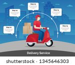 delivery courier ride scooter... | Shutterstock .eps vector #1345646303