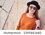 portrait of young stylish girl... | Shutterstock . vector #1345661660