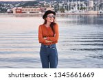 young stylish smiling girl... | Shutterstock . vector #1345661669