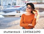portrait of young stylish girl... | Shutterstock . vector #1345661690