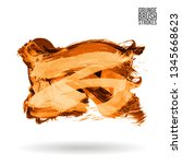 orange brush stroke and texture.... | Shutterstock .eps vector #1345668623