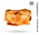 orange brush stroke and texture.... | Shutterstock .eps vector #1345668656