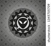 alien icon inside dark badge or ... | Shutterstock .eps vector #1345705709