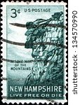 Small photo of USA - CIRCA 1955: A stamp printed in United States of America shows Old man of the mountains, New Hampshire, Live Free or Die, circa 1955