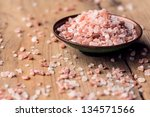 pink salt from the himalayas in ... | Shutterstock . vector #134571566