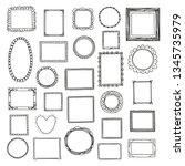 frames doodle vector big set.... | Shutterstock .eps vector #1345735979