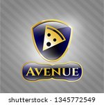 gold emblem with pizza slice...   Shutterstock .eps vector #1345772549