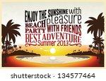 retro vintage summer poster... | Shutterstock .eps vector #134577464
