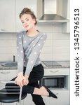 fashion shot. beautiful female... | Shutterstock . vector #1345796513