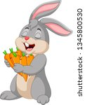 cartoon rabbit holding carrots | Shutterstock .eps vector #1345800530