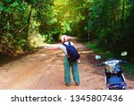 traveler on forest road in phu... | Shutterstock . vector #1345807436