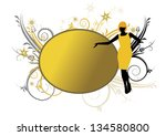 yellow banner or frame with...   Shutterstock . vector #134580800