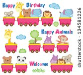 wild animals on train | Shutterstock .eps vector #134581226