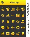 charity icon set. 26 filled... | Shutterstock .eps vector #1345828760