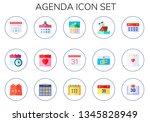 agenda icon set. 15 flat agenda ... | Shutterstock .eps vector #1345828949