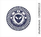 blue alien icon inside distress ... | Shutterstock .eps vector #1345830113