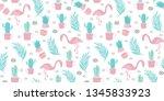 seamless flamingo pattern...   Shutterstock .eps vector #1345833923