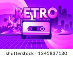 80s retro sci fi background in...   Shutterstock .eps vector #1345837130