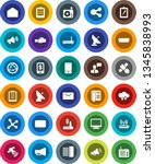 white solid icon set  clipboard ... | Shutterstock .eps vector #1345838993